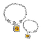 Silver Braided Rope Bracelet With Crystal Studded Square Pendant-Golden Lion Head
