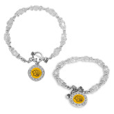 Crystal Jewel Toggle Bracelet with Round Pendant-Golden Lion Head
