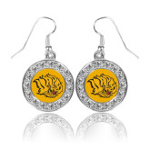 Crystal Studded Round Pendant Silver Dangle Earrings-Golden Lion Head