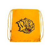 Gold Drawstring Backpack-Golden Lion Head