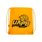 Gold Drawstring Backpack-UAPB Lion Head Stacked