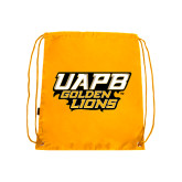 Gold Drawstring Backpack-UAPB Golden Lions Stacked