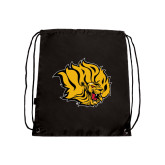 Black Drawstring Backpack-Golden Lion Head