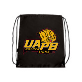 Black Drawstring Backpack-UAPB Lion Head Stacked