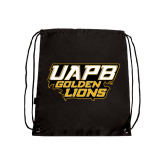 Black Drawstring Backpack-UAPB Golden Lions Stacked