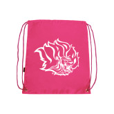 Pink Drawstring Backpack-Golden Lion Head