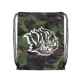 Camo Drawstring Backpack-Golden Lion Head