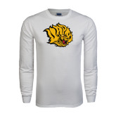 White Long Sleeve T Shirt-Golden Lion Head