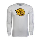 White Long Sleeve T Shirt-Golden Lion Head