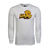 White Long Sleeve T Shirt-UAPB Lion Head Stacked