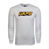 White Long Sleeve T Shirt-UAPB Word Mark