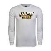 White Long Sleeve T Shirt-UAPB Golden Lions Stacked