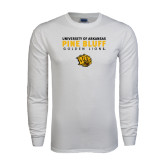 White Long Sleeve T Shirt-University of Arkansas Pine Bluff Golden Lions