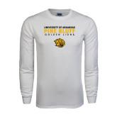 White Long Sleeve T Shirt-University of Arkansas Pine Bluff Golden Lions