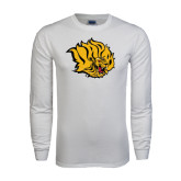 White Long Sleeve T Shirt-Golden Lion Head Distressed