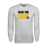White Long Sleeve T Shirt-Fear The Golden Lions