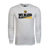 White Long Sleeve T Shirt-We Bleed Black & Gold