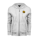 ENZA Ladies White Fleece Full Zip Hoodie-Golden Lion Head