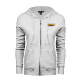 ENZA Ladies White Fleece Full Zip Hoodie-UAPB Word Mark