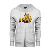 ENZA Ladies White Fleece Full Zip Hoodie-UAPB Lion Head Stacked
