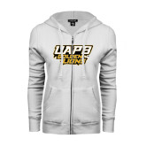 ENZA Ladies White Fleece Full Zip Hoodie-UAPB Golden Lions Stacked
