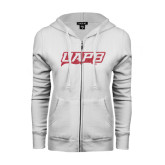 ENZA Ladies White Fleece Full Zip Hoodie-UAPB Word Mark Pink Glitter