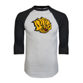 White/Black Raglan Baseball T-Shirt-Golden Lion Head