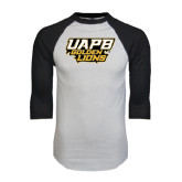 White/Black Raglan Baseball T-Shirt-UAPB Golden Lions Stacked
