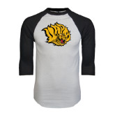 White/Black Raglan Baseball T-Shirt-Golden Lion Head Distressed