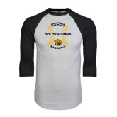 White/Black Raglan Baseball T-Shirt-Baseball Circle w/ Seams