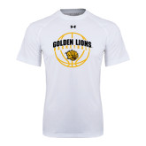 Under Armour White Tech Tee-Basketball  Arched w/ Ball
