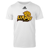 Adidas White Logo T Shirt-UAPB Lion Head Stacked