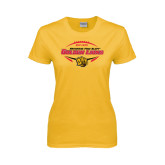 Ladies Gold T Shirt-Golden Lions Football in Ball