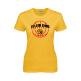 Ladies Gold T Shirt-Basketball  Arched w/ Ball