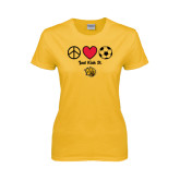Ladies Gold T Shirt-Soccer Just Kick It