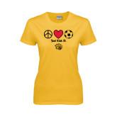 Ladies Gold T Shirt-Soccer Just Kick It