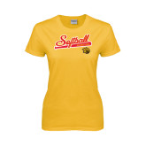 Ladies Gold T Shirt-Softball Script
