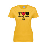 Ladies Gold T Shirt-Peace Love & Volleyball