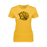 Ladies Gold T Shirt-Golden Lion Head Distressed