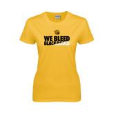 Ladies Gold T Shirt-We Bleed Black & Gold