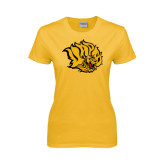 Ladies Gold T Shirt-Golden Lion Head