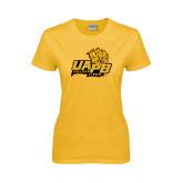 Ladies Gold T Shirt-UAPB Lion Head Stacked