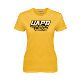 Ladies Gold T Shirt-UAPB Golden Lions Stacked