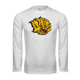Syntrel Performance White Longsleeve Shirt-Golden Lion Head