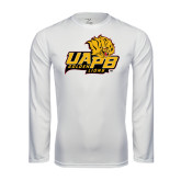 Syntrel Performance White Longsleeve Shirt-UAPB Lion Head Stacked