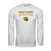 Performance White Longsleeve Shirt-University of Arkansas Pine Bluff Golden Lions