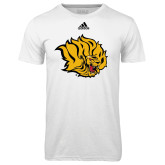 Adidas Climalite White Ultimate Performance Tee-Golden Lion Head