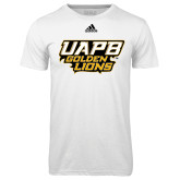 Adidas Climalite White Ultimate Performance Tee-UAPB Golden Lions Stacked