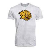 Next Level Heather White Tri Blend Crew-Golden Lion Head