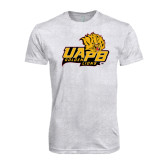 Next Level Heather White Tri Blend Crew-UAPB Lion Head Stacked